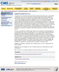 Inpatient Medicare Review page at CMS.gov