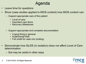 See Notes and Screens from MCG Tools