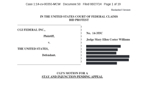 Click for a copy of the stay and injunction request filed by CGI on August 27, 2014