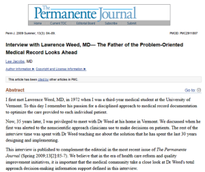 Interview with Dr. Weed 2009