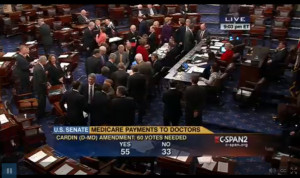 Early in the vote for the Cardin Amendment - the large margin eventually evaporated, but still came close to passing.