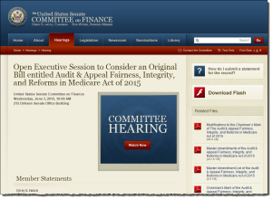 All documents and a video are available at the Senate Finance Committee website. Click the image to visit the site.