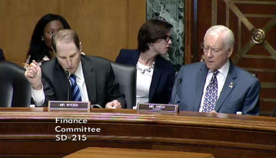 Colloquy is normally pre-scripted, but part of Senator Wyden's script seemed to be a surprise to Senator Hatch.