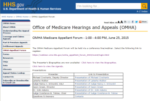 The OMHA Medicare Appellant Forum Home Page at hhs.gov